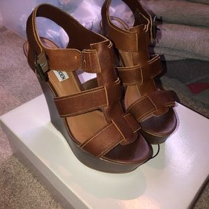 """Steve Madden """"Wanting"""" Leather Wedge Sandals"""